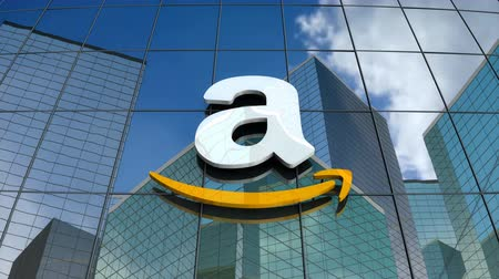 amazonka : March 2018, Editorial use only, 3D animation, Amazon logo on glass building.