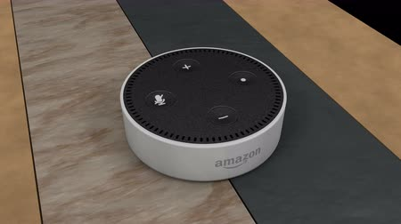 kontrolovány : December 2017, Editorial use only, 3d rendering, Amazon Echo Dot device.