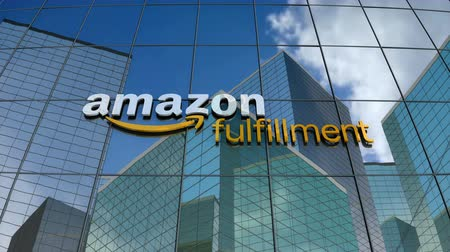 amazonka : March 2018, Editorial use only, 3D animation, Amazon Fulfillment logo on glass building.