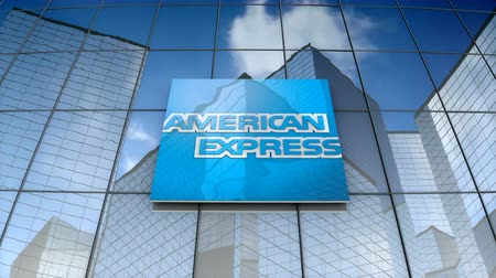 multinational : September 2017, Editorial use only, 3D animation, American Express Company logo on glass building.