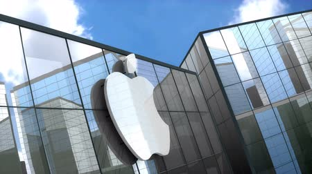 inc : June 2018, Editorial use only, 3D animation, Apple Inc. logo on glass building. Stock Footage