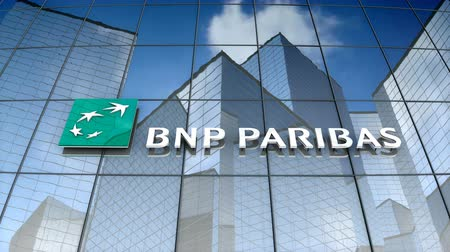 только : December 2017, Editorial use only, 3D animation, BNP Paribas logo on glass building.