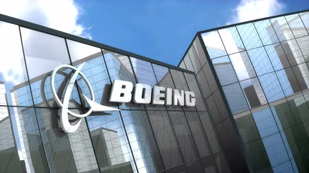 ba : June 2018,Editorial use only, 3D animation, Boeing logo on glass building.