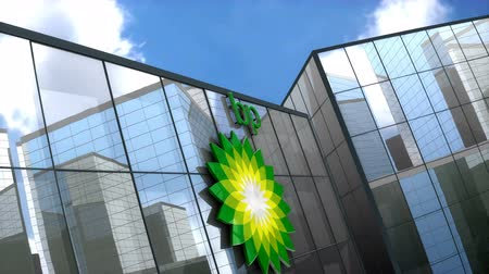 refining : June 2018, Editorial use only, 3D animation, BP logo on glass building.