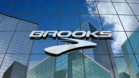 beken : March 2018, Editorial use only, 3D animation, Brooks Sports, Inc. logo on glass building.