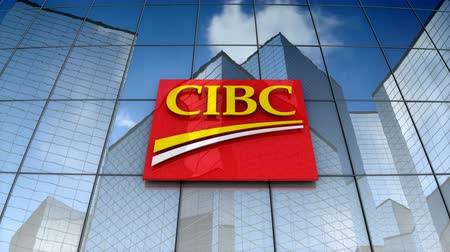 canadense : December 2017, Editorial use only, 3D animation, Canadian Imperial Bank of Commerce logo on glass building. Stock Footage