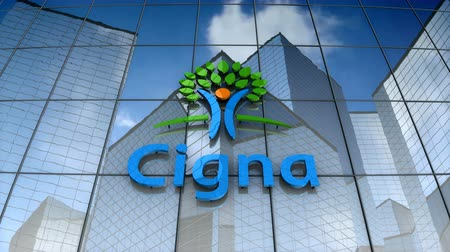 vyrovnání : December 2017, Editorial use only, 3D animation, Cigna logo on glass building. Dostupné videozáznamy