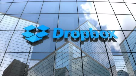 dosya : March 2018, Editorial use only, 3D animation, Dropbox Inc. logo on glass building.