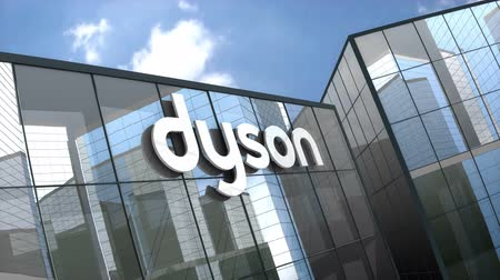 odkurzacz : October 2018, Editorial use only, 3D animation, Dyson Ltd logo on glass building. Wideo
