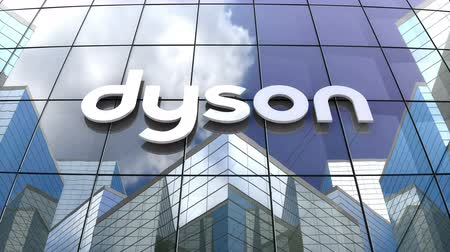 только : October 2018, Editorial use only, 3D animation, Dyson Ltd logo on glass building. Стоковые видеозаписи