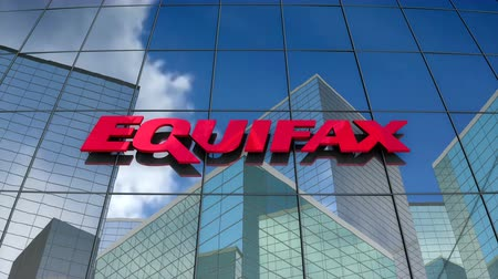 értékelés : March 2018, Editorial use only, 3D animation, Equifax Inc. logo on glass building.