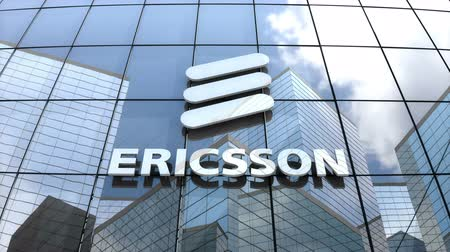 lápide : March 2018, Editorial use only, 3D animation, Telefonaktiebolaget L. M. Ericsson logo on glass building.