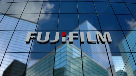 только : January 2018, Editorial use only, 3D animation, Fujifilm Holdings Corporation logo on glass building.