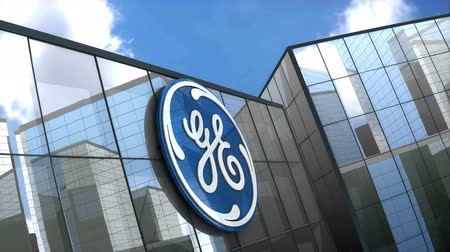 general electric : June 2018, Editorial use only, 3D animation, General Electric logo on glass building. Stock Footage