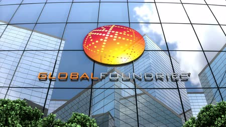 gofret : May 2018, Editorial use only, 3D animation, GLOBALFOUNDRIES Inc logo on glass building.