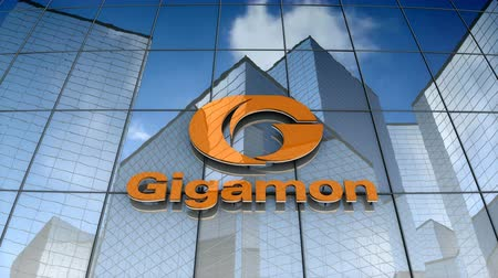только : December 2017, Editorial use only, 3D animation, Gigamon logo on glass building.