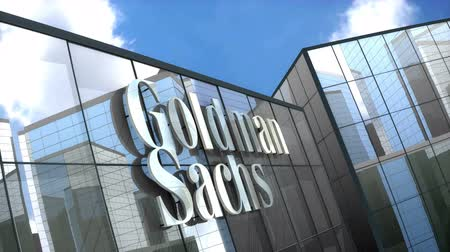 de ativos : June 2018, Editorial use only, 3D animation, The Goldman Sachs Group Inc. logo on glass building.