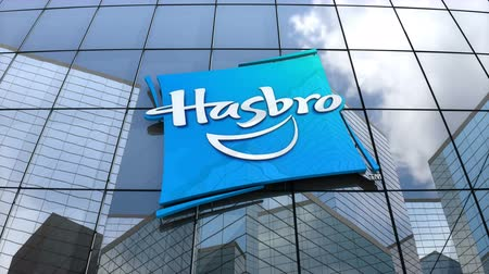 redazione : March 2018, Editorial use only, 3D animation, Hasbro, Inc. logo on glass building.