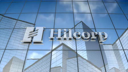 только : September 2017, Editorial use only, 3D animation, Hilcorp Energy logo on glass building.