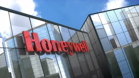 aeroespaço : June 2018, Editorial use only, 3D animation, Honeywell logo on glass building. Vídeos