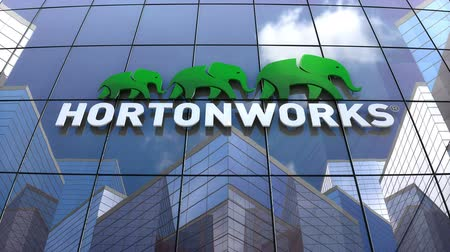 только : October 2018, Editorial use only, 3D animation, Hortonworks logo on glass building. Стоковые видеозаписи