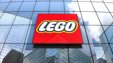 lego : May 2018, Editorial use only, 3D animation, The Lego Group logo on glass building.