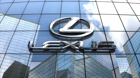 finansman : April 2018, Editorial use only, 3D animation, Lexus logo on glass building. Stok Video
