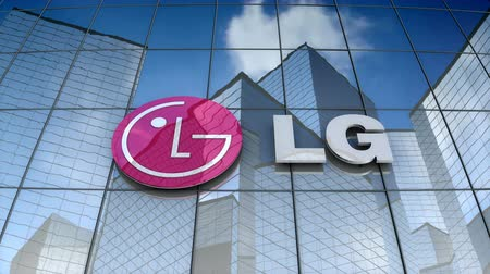 inc : October 2017, Editorial use only, 3D animation, LG Electronics Inc. logo on glass building. Stock Footage