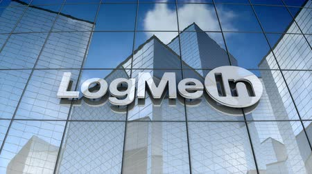 только : December 2017, Editorial use only, 3D animation, LogMeIn Inc. logo on glass building.