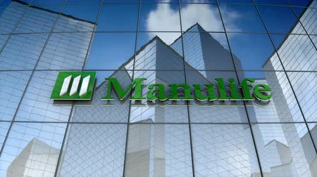 de ativos : December 2017, Editorial use only, 3D animation, Manulife Financial Corporation logo on glass building.