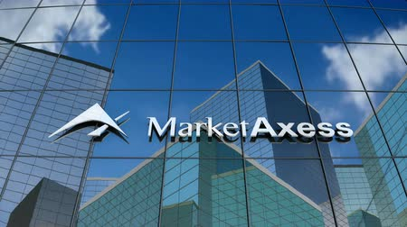 bonds : January 2018, Editorial use only, 3D animation, MarketAxess Holding Inc. logo on glass building.