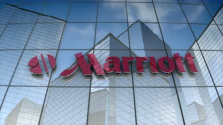 vendégszeretet : September 2017, Editorial use only, 3D animation, Marriott corporation logo on glass building.