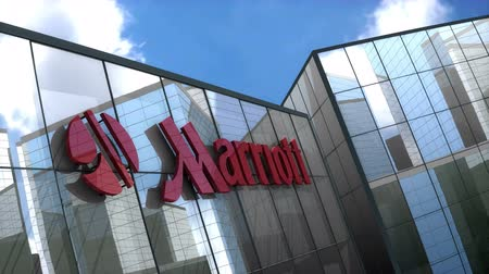 гостеприимство : June 2018, Editorial use only, 3D animation, Marriott corporation logo on glass building.