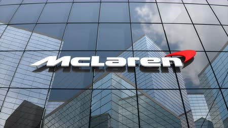 vzorec : March 2018, Editorial use only, 3D animation, McLaren Technology Group logo on glass building.