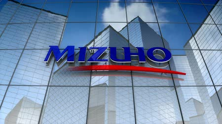 inc : December 2017, Editorial use only, 3D animation, Mizuho Financial Group, Inc. logo on glass building.