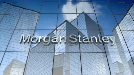 mês : October 2017, Editorial use only, 3D animation, Morgan Stanley logo on glass building.