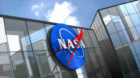ракета : October 2018, Editorial use only, 3D animation, NASA logo on glass building.