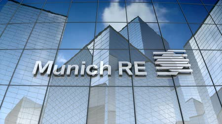 münchen : December 2017, Editorial use only, 3D animation, Munich Reinsurance Company logo on glass building. Stock mozgókép