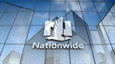 nationwide : September 2017, Editorial use only, 3D animation, Nationwide Mutual Insurance Company logo on glass building. Stock Footage