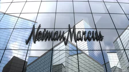 только : September 2018, Editorial use only, 3D animation, Neiman Marcus Group, Inc. logo on glass building.