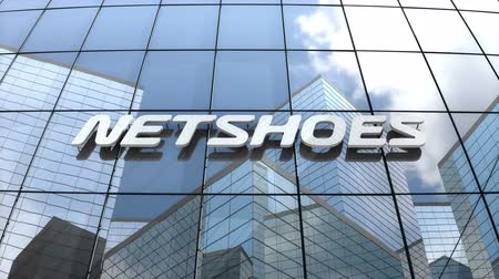 только : March 2018, Editorial use only, 3D animation, Netshoes Limited logo on glass building.