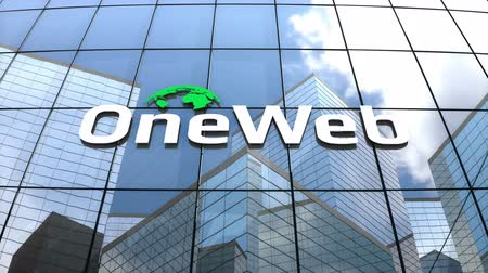 banda larga : May2018, Editorial use only, 3D animation, OneWeb logo on glass building. Stock Footage