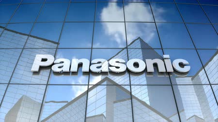componentes : October 2017, Editorial use only, 3D animation, Panasonic Corporation logo on glass building.