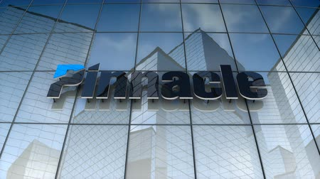 pináculo : September 2017, Editorial use only, 3D animation, Pinnacle Financial Partner logo on glass building.