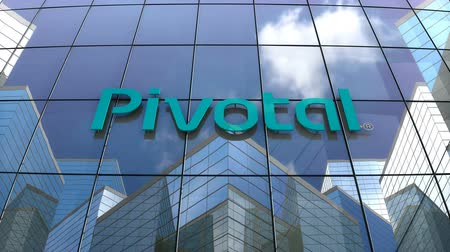 델 : October 2018, Editorial use only, 3D animation, Pivotal Software Inc. logo on glass building. 무비클립