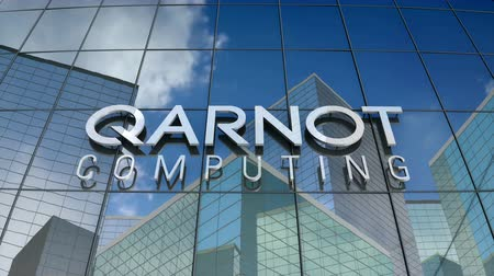 grzejnik : March 2018, Editorial use only, 3D animation, Qarnot computing logo on glass building.