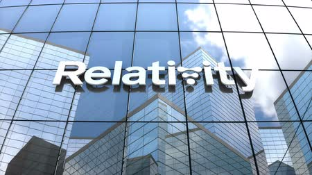 relativity : April 2018, Editorial use only, 3D animation, Relativity Space logo on glass building. Stock Footage