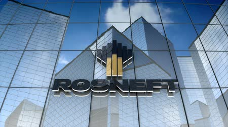 нефтехимический : December 2017, Editorial use only, 3D animation, Rosneft logo on glass building.