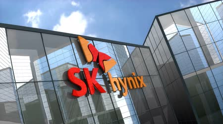 componentes : October 2018, Editorial use only, 3D animation, SK hynix Inc. logo on glass building. Stock Footage