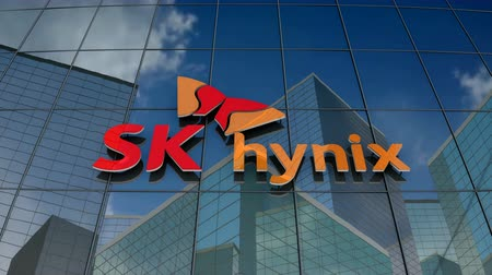 componentes : January 2018, Editorial use only, 3D animation, SK hynix Inc. logo on glass building.